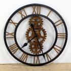 "Open Gears Antique Brass Gray Finish Large Wall Clock By Howard Miller, 31"" Dia."