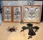 "Navajo Framed Sand Paintings Qty.3 Includes Metal Easel, 20"" Metal Cross And Copper Sun"