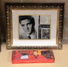 "Framed Matted UnderGlass Elvis Print And Filmography 15""H x 18""W And Collectible Elvis Branded Russel Stover Chocolate Tin"