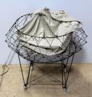 "Vintage Rolling Collapsible Wire Laundry Basket 28""H x 29""W, Missing Parts"