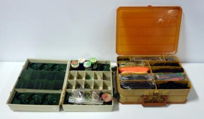 Plano Magnum Tackle Box Filled WIth Lures, Hooks, Sinkers, And More. Bass Pro Jig & Pig Box With Bait, Lures And More