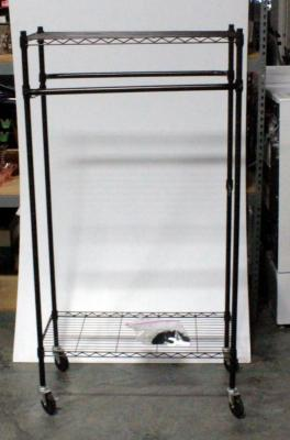 "Rolling Metal Storage Rack With Adjustable Shelves And Hanging Bars 66""H x 34.5""W x 24""D"