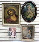 Religious Art Including Christ And Various Saints, All Framed And Under Glass, Total Qty. 4