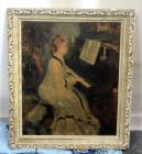 "Antique Painting of Woman Playing Piano 29""H x 25""W, Framed, Some Cosmetic Wear On Frame"