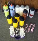 Water Bottle Assortment Qty 11 And Bicycle Water Bottle Holders, Qty 5
