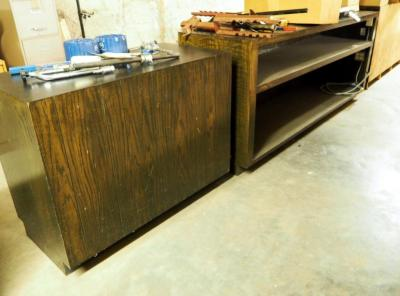 "Matching Solid Wood Storage/Display Counters, 39"" x 96"" x 25"" With Electrical And 36"" x 48"" x 24"" No Electrical, Contents Not Included"