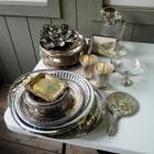 Silver Plate Serving Platter Collection With Glass And Silver Pitcher, Cups, Candy Dish, And More, QTY Approx 25 Pcs