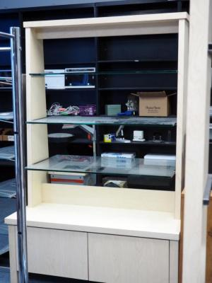 "3-Tier Merchandise Display Shelving Unit With Lower Storage, 74"" X 48"" X 36"" Contents Not Included"