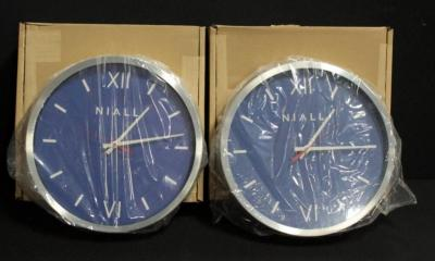 "Niall Branded Wall Clocks by American Time, ""Deep Blue"" 16"" Diameter Qty 2"