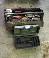 "Metal 19"" Carpenters Tool Box, Including Screwdrivers, Sockets, Wrenches And More With Small Plastic Tool Box"