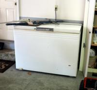 "Frigidaire Electric Chest Deep Freezer, Powered Up And Working, 37"" x 49"" x 28"""