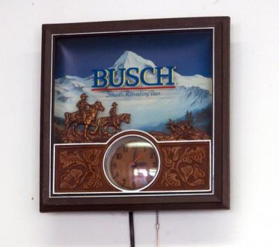 "Lighted Electric Busch Beer Wall Clock, 14"" x 14"", Needs Repair"