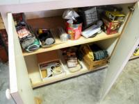 Halogen Shop Light, Electric Glue Gun, Steel Wool, Gloves, Light Bulbs And More, Contents Of Cabinet