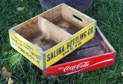 Vintage Wood Soda Boxes Including Pepsi-Cola And Coca Cola
