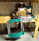 Fish Camp Gear Including Propane Cook Stove Coleman Insulated Jug, Tackle Box, Fish Cleaning Knives Stool And More