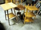 Solid Wood Occasional Tables, Qty 3, Various Heights And Styles