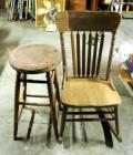 Antique Wood Rocker And Stool