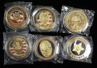 Police Department Gold Tone Challenge Coins For LAPD, Miami PD, Polk County Sheriff, Kennesaw PD, Lahabra PD And Virginia Sheriff's Association, Qty 6