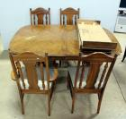 Broyhill Furniture, Wood Double Pedestal Dining Table With 2 Leaves, Some Cosmetic Wear, And 4 Chairs With Padded Seats
