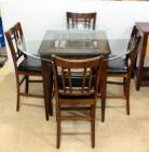 "Great Veca Co. Dining Table With Round Beveled Glass Top Over Square Wood Base 36""H x 54""Dia, 4 Chairs With Padded Seats & Wood Backs, Matches Lot 59"