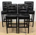 Faux Leather Padded Bar Stools With Backs, Qty 4