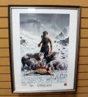 "Marvel Dynamic Forces ""Origin: James Feasting With The Wolves"" Wolverine Poster Signed By Artist Richard Isanove, Framed Under Glass 19.5""W x 25.5""H"