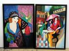 "Framed Canvas Art Of Woman Wearing Hat By Flower Vase And Women At Cafe, Both Signed By S. Newton, Framed 26""W x 38""H, Total Qty 2"