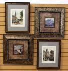 "Amy Melious, Campagna I & Campagna III Prints, Both Framed Matted Under Glass 20.5""W x 20.5""H And European City Scenes Signed & Numbered, Total Qty 4"