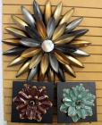 "Dimensional Metal Floral Art Work, Includes Wall Hanging Flower with Mirror in Center 29""Dia And Two Painted Metal Flowers On Frames, Both 13"" x 13"""