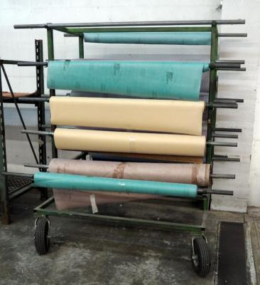 "Iron Rolling Material Rack With 15 Metal Dowels, Fabric Not Included, 75"" x 56"" x 55"""