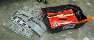 Tough Tools Tool Box Including Open End Wrenches, Rubber Mallet, Wire Brushes And All Trade Socket And Wrench Set
