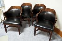 "BL Marble Chair Company, Solid Wood Barrel Chairs With Leather-like Upholstery, 32"" x 23"" x 24"", QTY 4"