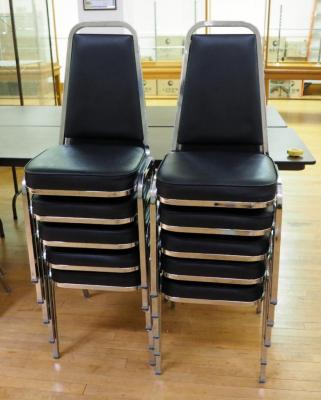 Metal Framed Stackable Reception Chairs With Upholstered Seats And Backs, Qty 10