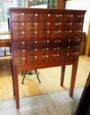 "Library Bureau, Sole Maker, Antique Solid Wood Standing Index Card Cabinet ,36 Drawers, 55""X 39"" X 17"""
