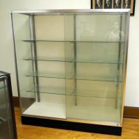 "Metal Framed Glass Display Case With Sliding Glass Doors And 4 Adjustable Glass Shelves, 67"" X 60""X 20"""