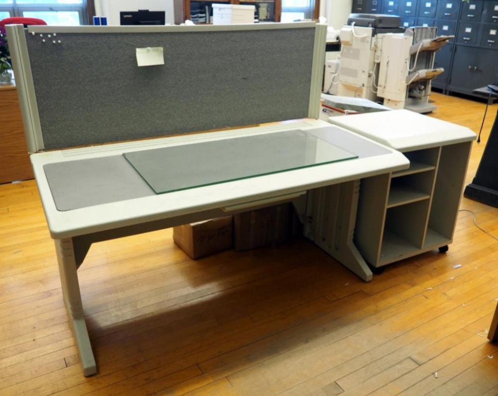 Outstanding Microcomputer Accessories Polyvinyl Work Desk With Attached Cjindustries Chair Design For Home Cjindustriesco