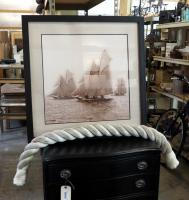 "Framed Matted Under Glass Enlarged photograph Of Yacht Race, 33"" x 33"" With section Of Large Anchor Rope"