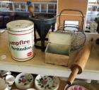 Kitchen Primitives Including Wire Egg Basket, Rolling Pin, China Cap Strainer And Pestle Set