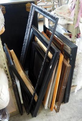 Wood Picture Frame Assortment, Various Styles And Sizes, Approx 14 Frames