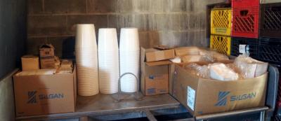 "10"" Wood Skewers, 1 Gal Food Containers, Meat Packaging Trays And More, Contents Of Table"