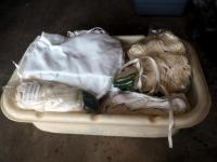 Cotton Aprons, Hand Towels, And Jersey Gloves, Contents Of Tote