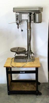 Duracraft 15 Inch Drill Press Model UL-500, Powers On, Mounted On Wheeled Cart
