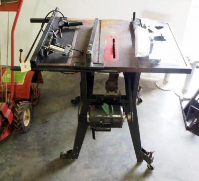 "Sears Craftsman 10"" Table Saw, Model 113.298030, On Wheeled Stand, Powers On"