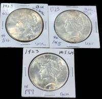 1923 Peace Dollars, Qty 3, One Toned
