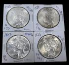 1923 Peace Dollars, Qty 3 And 1924 Peace Dollar