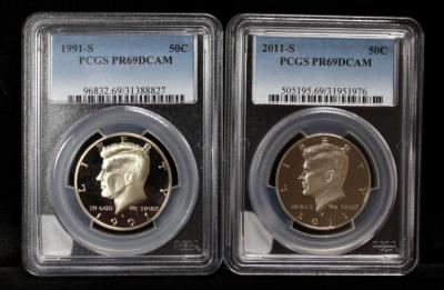 1991 S Kennedy Half Dollar And 2011 S Kennedy Half Dollar, Both Slabbed, PCGS PR 69 D Cam