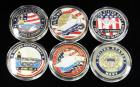 US Navy Challenge Coins, Includes USS Forrestal, USS Independence, USS George Washington, F-14 Tomcat, USS John C Stennis And Navy Seal, Qty 6