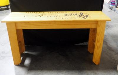 "Piano Bench Engraved With ""Where Words Fail, Music Speaks"" And Keyboard Image, 19""H x 36""W x 11.5""D"