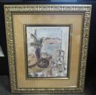 "T. Combs, ""Provence II"" Print, Framed Matted Under Glass, 33.75"" Wide x 38.5"" High, Some Cosmetic Wear On Mat"