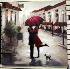 "Kirkland Canvas Print Depicting Couple In Rainy Street Scene, On Stretcher, 39.5"" Wide x 39.5"" Tall"